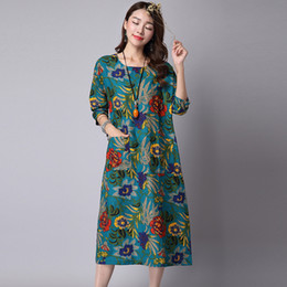Women Dress 2016 New floral print A-Line Vintage Dresses Orange or blue Color Cap sleeve summer's Dresses Women Clothing