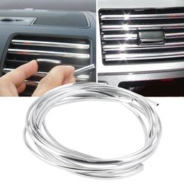 Wholesale 4m x mm U Shape DIY Car Interior Air Vent Grille Switch Rim Trim Outlet Decoration Strip Moulding Chrome Silver