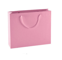 Horizontal pink color 11 sizes stock and customized ivory board paper gift bag paper bag shopping bag ELB157
