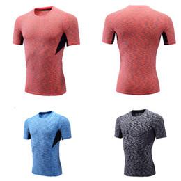 Wholesale NOUVEAU COULEUR hommes de mode à manches courtes O Neck Compression T Shirts Tops porter Sports Collants Fitness Base Couches Top