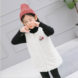 2017 new style baby girl clothing winter veil vest comfortable warm sweet cute plush collarless white waistcoat with pearl lace vest