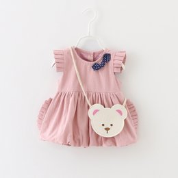 Wholesale Baby Girls Ruffle Sleeves Bud Dresses Autumn Kids Boutique Clothing Age Years Kids Solid Color Dresses with Bear Bag