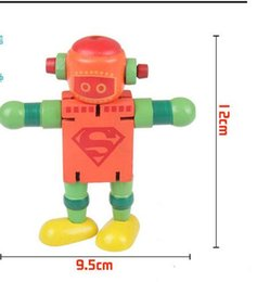 Hot new fun children's educational wooden toys Variety Transformers robot can be customized red blue wooden material free shipping