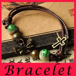 Wholesale 2016 China ceramics Designs Leather Bracelet Antique Cross Anchor Love Peach Heart Owl Bird Believe Pearl Knitting Bronze Charm Bracelets