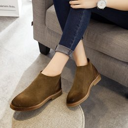 New Fashion women Martin Boots Ladies Flat Booties England Chelsea Women Ankle Boots Short Tube Genuine Leather Bare Boots
