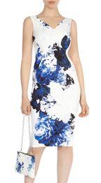 Vintage Flower Print Women Sheath Dress V-Neck Sleeveless Dresses 066A634
