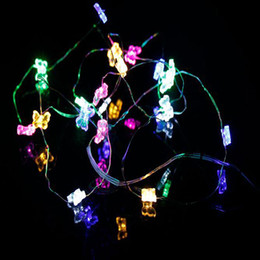2m 20led Battery Copper wire string lights butterfly Fairy String Light, Wedding Christmas Decor