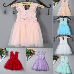 2016 Summer Baby Girls Clothes Lace Crochet tulle Tutu Dresses Childrens Prubcess Sequins Dresses for Kids Clothing vest Party Dress