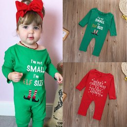 Wholesale 2016 winter style Christmas gift rompers Newborn Kids Infant Baby Girls red green Bodysuit merry best girl friend Romper Jumpsuit Clothes
