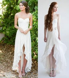 Wholesale Cheap Rustic Country Lace Wedding Dresses High Front Side Slit Tiered Ruffled Chiffon Strapless High Low Backless Anita Bridal Gowns