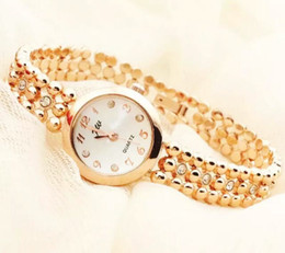 Wholesale Cheap Watches Silver Women - hot sale newest classic gold color case manual diamond round cheap dress bracelet watch-for-women girl gift