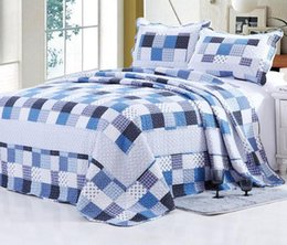 Wholesale-100% Cotton Blue Geometric Quilted Bedspread Queen Size Quilt Set 3pcs Home Hotel Coverlet High Quality Bedcover
