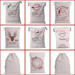 Wholesale 7 Colors Large Canvas Monogrammable Santa Claus Drawstring Bag Reindeer Express Service Drawstring Tote Christmas Gifts Sack Bags Tote