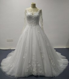 Real Images 2016 Wedding Dresses with Sheer Crew Neck Lace Long Sleeves and Beading Court Train Tulle Bridal Gowns