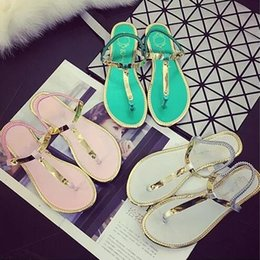 2016 new female summer simple flat sandals clip toe sandals sequins shoes student shoes large size shoes free shipping