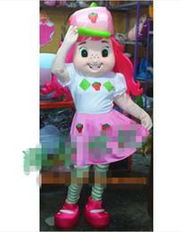 2016 Cute Pink Strawberry Shortcake Mascot Costume Mascota Fancy Dress With White Shirt Pink Dress Green Thin Legs