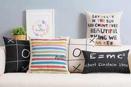 Wholesale colorful stripes hello XOXO Einstein E MC2 formula let s count beautiful things cushion cover decorative throw pillow Case