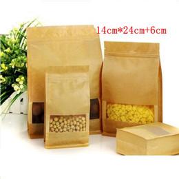 Wholesale 14cm cm cm Kraft paper bag frosted open window packaging bag eight edge sealing leisure food packaging organ paper bag