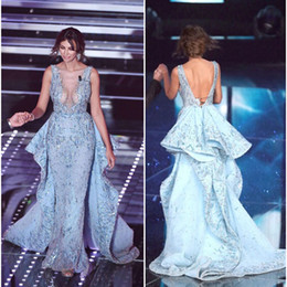 Madalina Ghenea Celebrity Dresses 2016 Sanremo Sexy sheer neck Major Beading A-Line Evening Dresses with Open Back Luxurious Pageant Gowns
