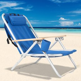 Wholesale Backpack Beach Chair Folding Portable Chair Blue Solid Construction Camping New