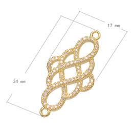 2016 Fashion Charm Bracelet Accessories CZ Micro Pave Brass Pendant Chinese Knot Plated & 1 1 Loop More Colors For Choice 17x34mm 10PCs Lot