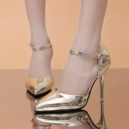 The spring and Autumn New Korean OL high heels shoes with ultra shallow mouth fine pointed female leather shoes high gold strap shoes