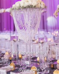 new arrival large and Tall crystal wedding flower stands acrylic flower vase stands