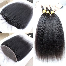 Virgin Brazilian Kinky Straight 13*4 Ear To Ear Lace Frontal Closure With Bundles Italian Coarse Yaki Human Hair With Full Lace Frontals
