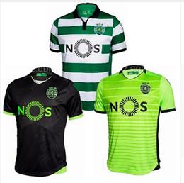 Wholesale 2016 Lisbon tops white soccer jerseys adult tops men de foot maillot best quality uniform training suits Sporting Lisbon jersey