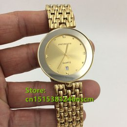 2016 brand new stainless steel high quality men and women couple fashion gold color belt waterproof quartz watch