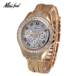 Wholesale Business Casual Water Proof Quartz Wristwatch Top Fashion Brand Unisex IPG Golden Crystal Ornate Inlay Stones