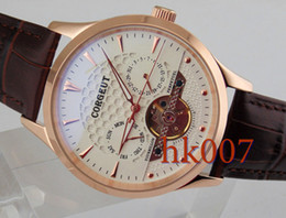 1590 Corgeut 44mm Rose Gold Case White Dial Date Day Men's Stainless Steel Automatic Watch