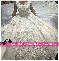 Romantic Ball Bridal Gowns Wedding Dresses 2019 Princess Appliques Lace Bridal Gown Chapel Train Fashionale Dubai Bride Wear Custom Made