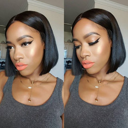 100% Indian Full Lace Wig Glueless Human Hair Lace Front Bob Wig human hair Lace Wig Short Bob With Baby Hair For Black Women