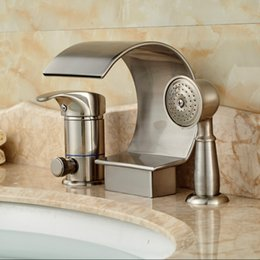 Wholesale Nickel Brushed Bathroom Waterfall Bath Tub Faucet Set Deck Mount Widespread Holes Faucet Tap with Handshower