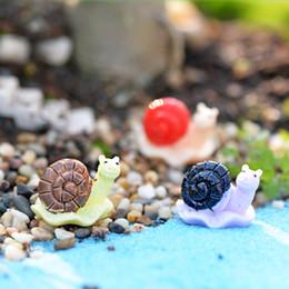 Wholesale 10pcs Cartoon Snail Figurines Fairy Garden Terrarium Miniatures Bonsai Tool Resin Craft Gnomes Jardim Zakka DIY Home Accessories