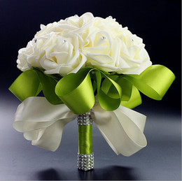 Wholesale Hand bouquet of flowers beautiful bride wedding bouquet milk white roses bouquet simulation hand bouquet implies the pure love Z125