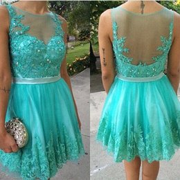 2016 New Hunter Illusion Lace Tulle Homecoming Dresses Beaded Sleeveless Short Summer Party Graduation Dress Prom Dresses