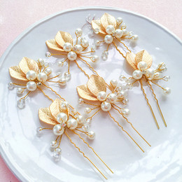 DHL Free Shipping Fashion Europe and American Bride Hairpin handcraft plate hairpin gold leaf hairpin Wedding Stick Jewelry hair accessories