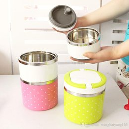 Wholesale Stainless Steel Food Container Wholesale - 1 Layers 630ml Stainless Steel Lunch Box with Handle Thermos Food Container Tableware Dinnerware Sets with Cute Dot Pattern freeshipping820