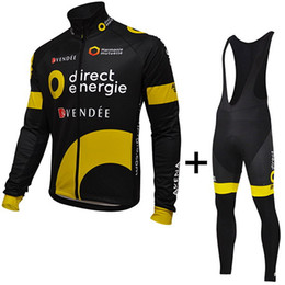 WINTER FLEECE THERMAL CYCLING LONG JERSEY ROPA CICLISMO+BIB PANTS 2016 DIRECT ENERGIE PRO TEAM BLACK YELLOW 3D GEL PAD-PICK SIZE:XS-4XL G33