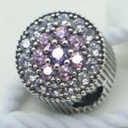 New 2016 Spring 925 Sterling Silver Dazzling Floral Charm Bead with Pink & Purple Cz Fits European Pandora Style Jewelry Bracelet & Necklace