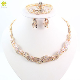 Fashion 18K Gold Plated Wedding Bridal Jewelry Set Wedding Accessories Necklace Bangle Earrings Ring For Women