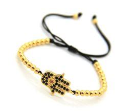 2016 High Grade CZ Beads Jewelry Wholesale, 4mm Gold, Rose Gold &Black Bronze Beads with Hamsa Hand Braiding Macrame Bracelets