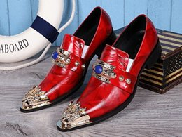 2016 New Style Mens Dress Loafers Shoes Genuine Leather Men's Wedding Party Shoes Men's Flat Black Red Plus Size 38-46