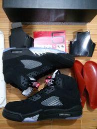 Wholesale Black Metallic Top Quality Air Retro V Black Metallic OG Basketball Shoes Men Women size With Box