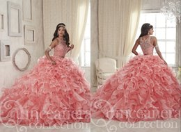 Wholesale Stunning Two Pieces Quinceanera Dresses Coral Ruffled Ball Gown Sheer Neck Hollow Organza Designer Long Party Prom Evening Dress