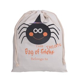 Wholesale Halloween Large Canvas bags cotton Drawstring Bag With Pumpkin devil spider Hallowmas day children candy Gifts Sack Bags pocket cm hot