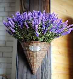 Wholesale Zakka Style Heads Fresh Purple Fake Plants Artificial Bouquet Roll Lavender Leaves Grass Wedding Garden Floral Decor Flowers Arrangement