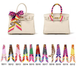 240 Styles Colorful Fashion Twilly Scarf Handbag Handle Decoration Accessories Handbag Twilly Brand Bow Hair Bands Scarves For Ladies 009